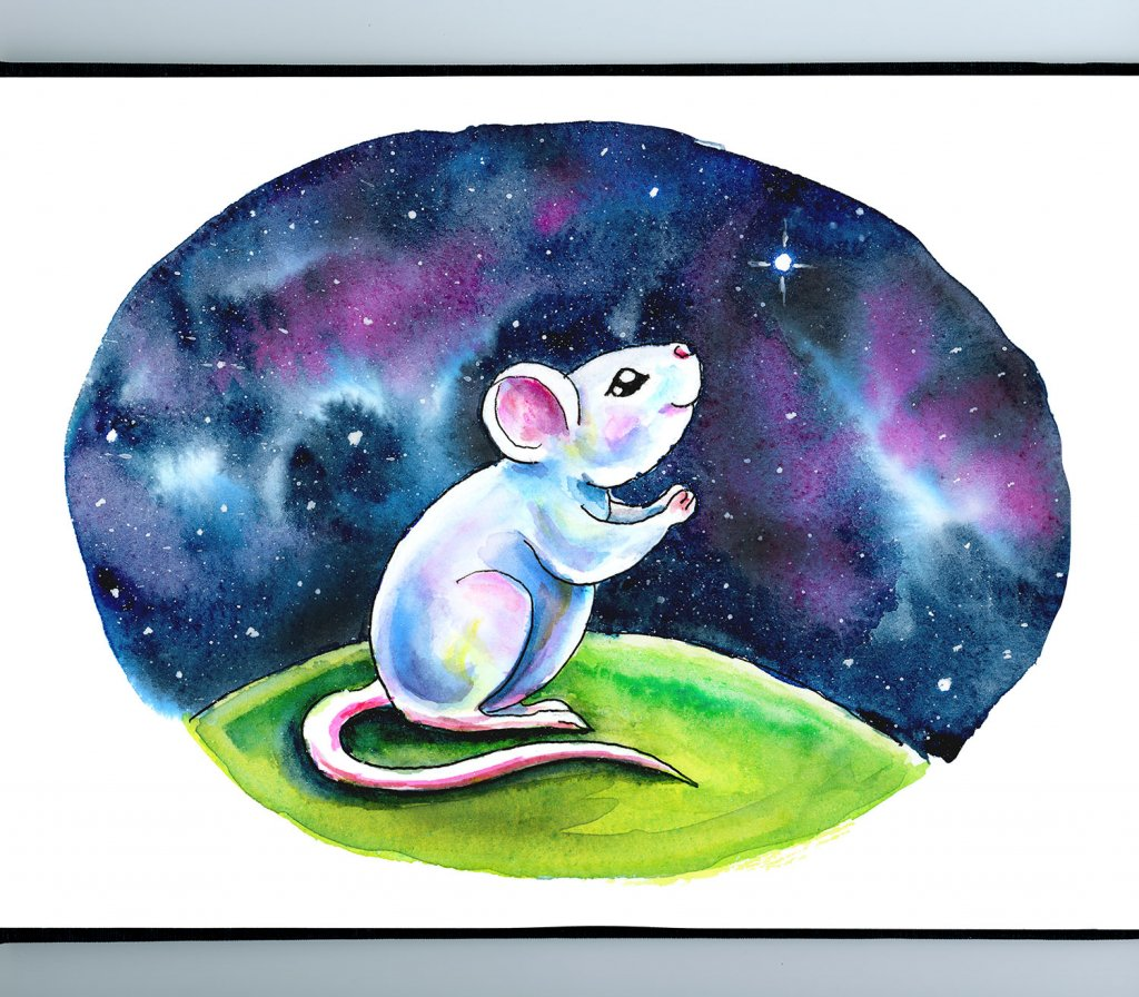 White Mouse Wishing On A Star Galaxy Watercolor Illustration Painting Sketchbook Detail