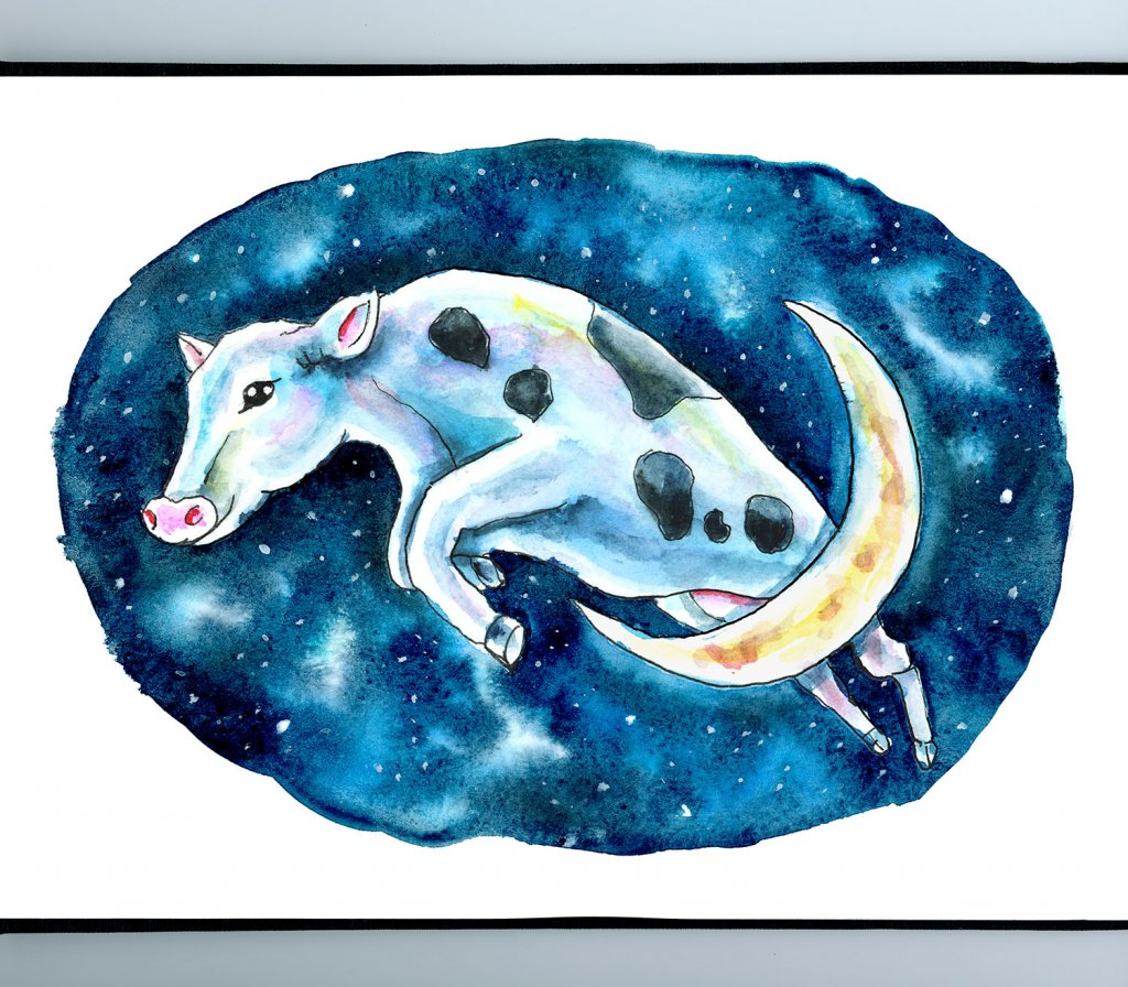 Cow Jumped Over The Moon Watercolor Illustration Painting Sketchbook Detail