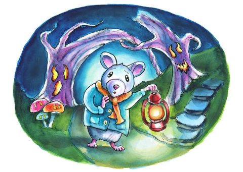 Spooky Forest Path Mouse Storybook Halloween Watercolor Illustration Painting