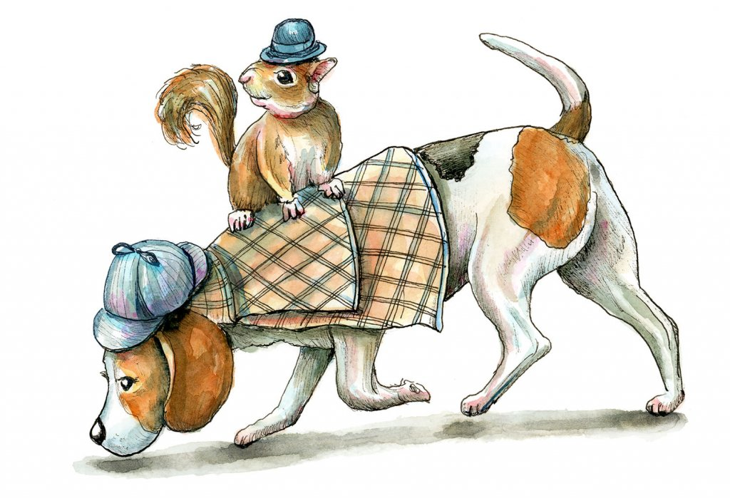 Sherlock Holmes And Watson Beagle And Squirrel Watercolor Illustration Painting