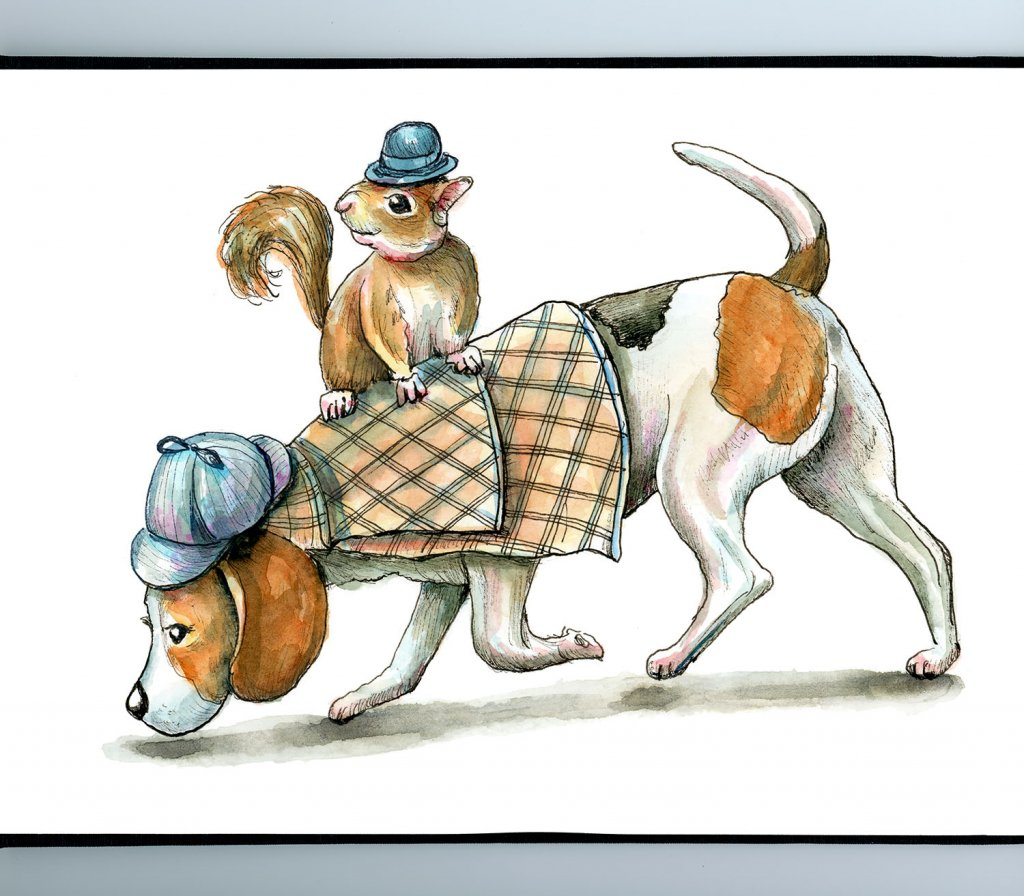 Sherlock Holmes And Watson Beagle And Squirrel Watercolor Illustration Painting Sketchbook Detail
