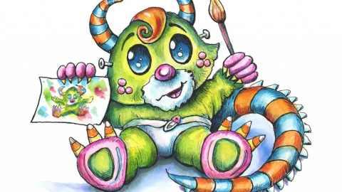 Little Cute Monster Artist Halloween Watercolor Illustration Painting