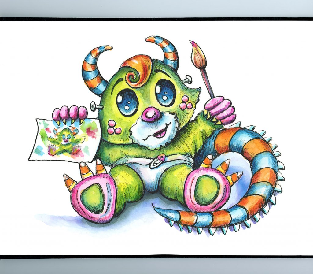 Little Cute Monster Artist Halloween Watercolor Illustration Painting Sketchbook