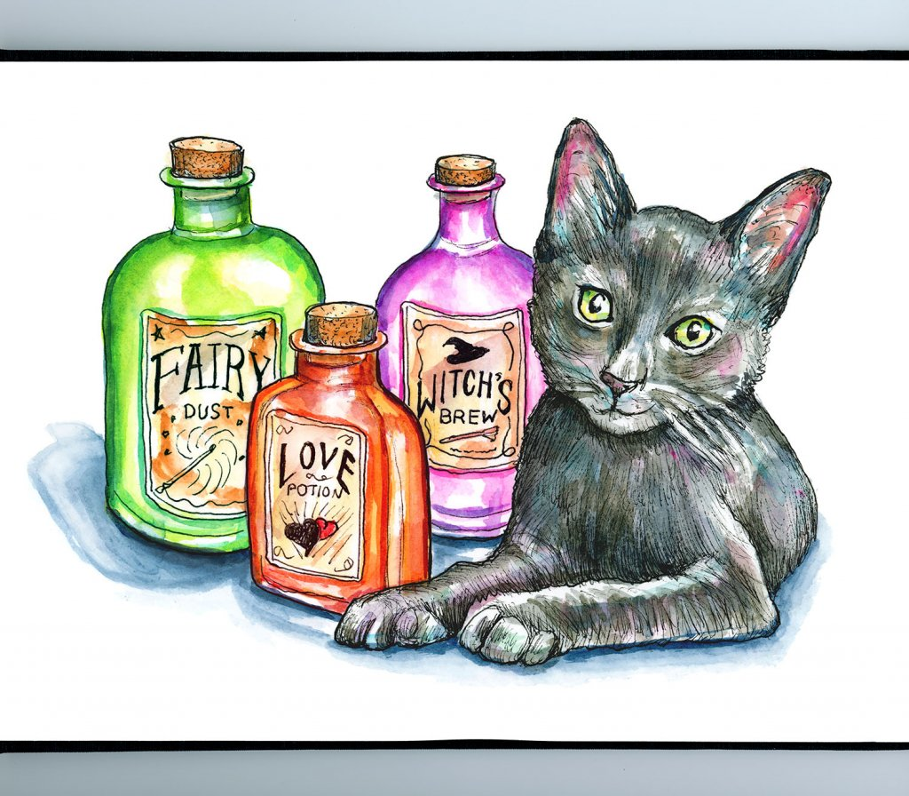 Apothecary Bottles Potions Black Cat Halloween Watercolor Illustration Painting Sketchbook Detail