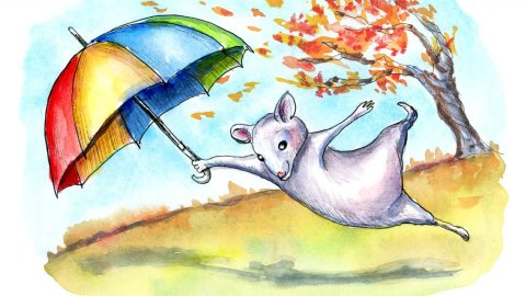 Windy Autumn Fall Leaves Mouse Umbrella Watercolor Illustration Painting