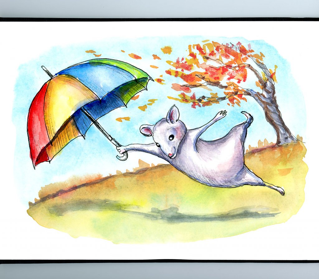 Windy Autumn Fall Leaves Mouse Umbrella Watercolor Illustration Painting Sketchbook Detail