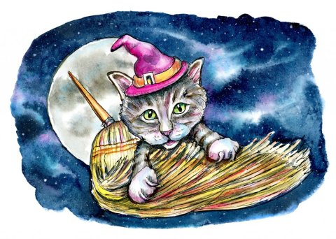 Witch Cat Broom Moon Night Galaxy Halloween Watercolor Illustration Painting