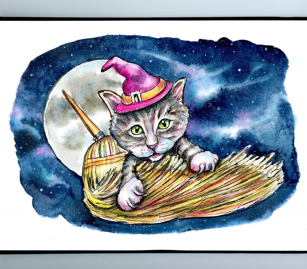 Witch Cat Broom Moon Night Galaxy Halloween Watercolor Illustration Painting Sketchbook Detail