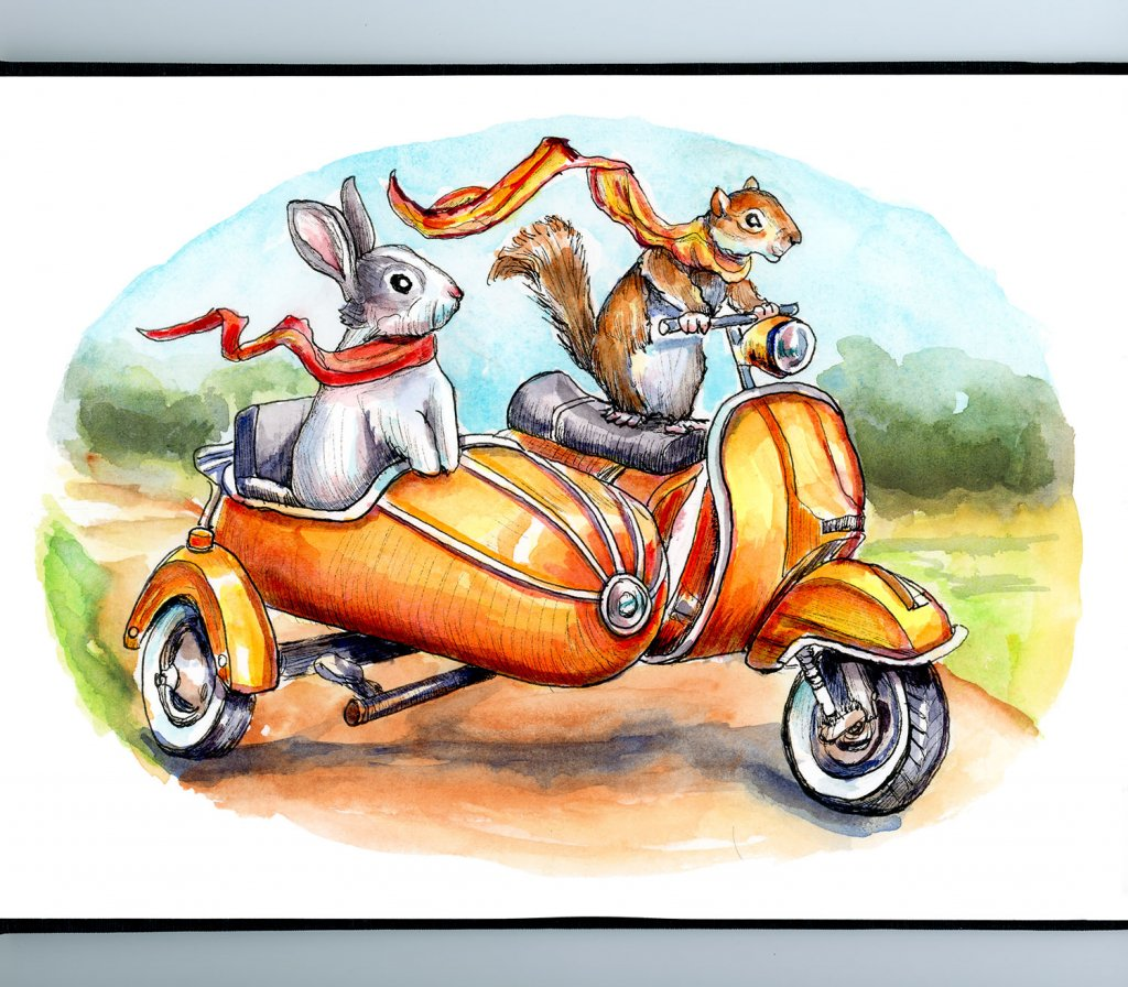 Bunny Rabbit And Squirrel Riding Scooter With Side Car Watercolor Illustration Painting Sketchbook Detail