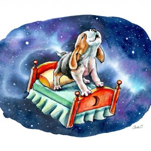 Galaxy-Sky-Dreams-Beagle-On-Bed-Watercolor-Illustration-Painting_Signed_printfile_Detail