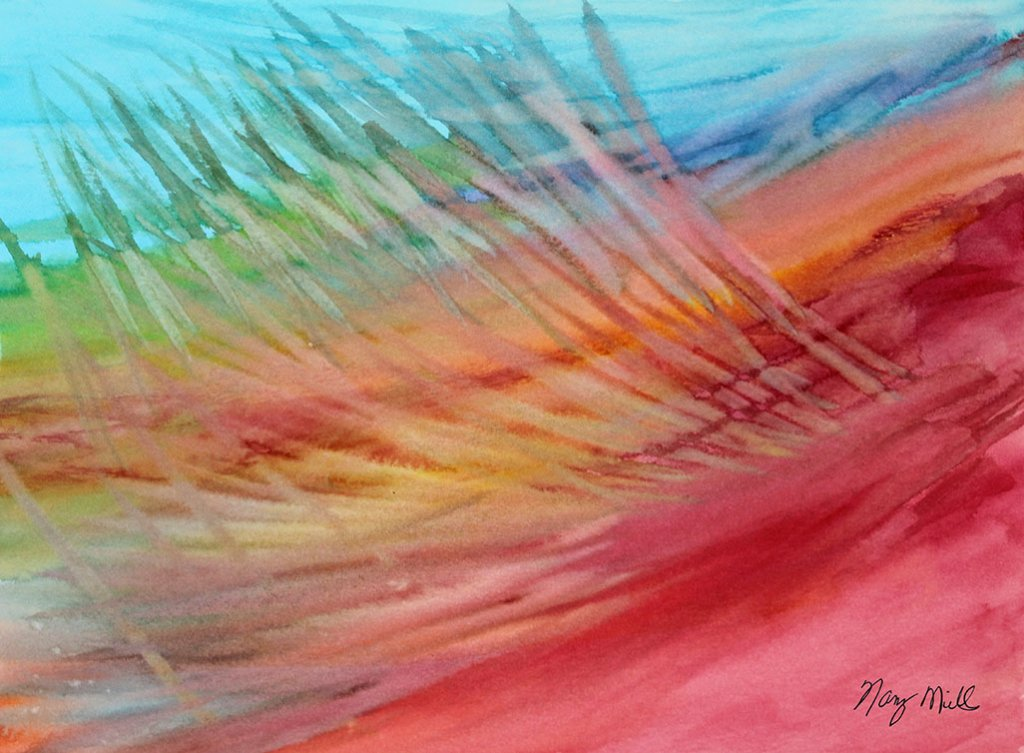 High In The Sky Watercolor Abstract Painting by Nancy Mills
