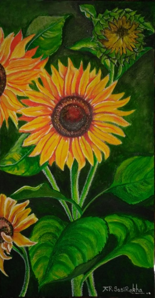 Never look directly at the sun. Instead, look at the sunflower.And the yellow sunflower by the brook