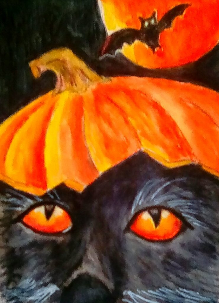 """Today's watercolor challenge """"Cat"""" with a Halloween twist. IMG_20201003_110554_kin"""