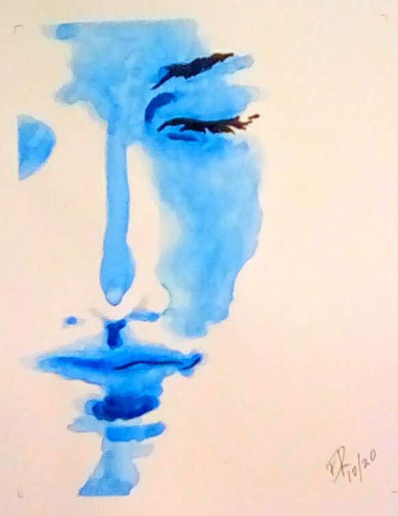 """Today's watercolor challenge """"Dream"""" I thought about adding more elements but then"""