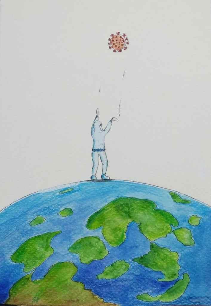 Prompt 9 – Throw #inktober2020 #corona #pandemic #frontlineworkers #indianartist #illustration