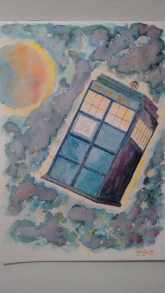 Acuarela, Formato A4, grano medio 300gg/m2. Día 17 Astronave. Tardis, Doctor Who. IMG_20201017_2251