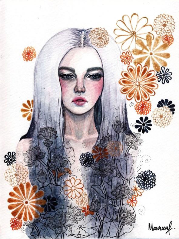 Indifference Girl Portrait Watercolor Painting by Maureen Fletcher