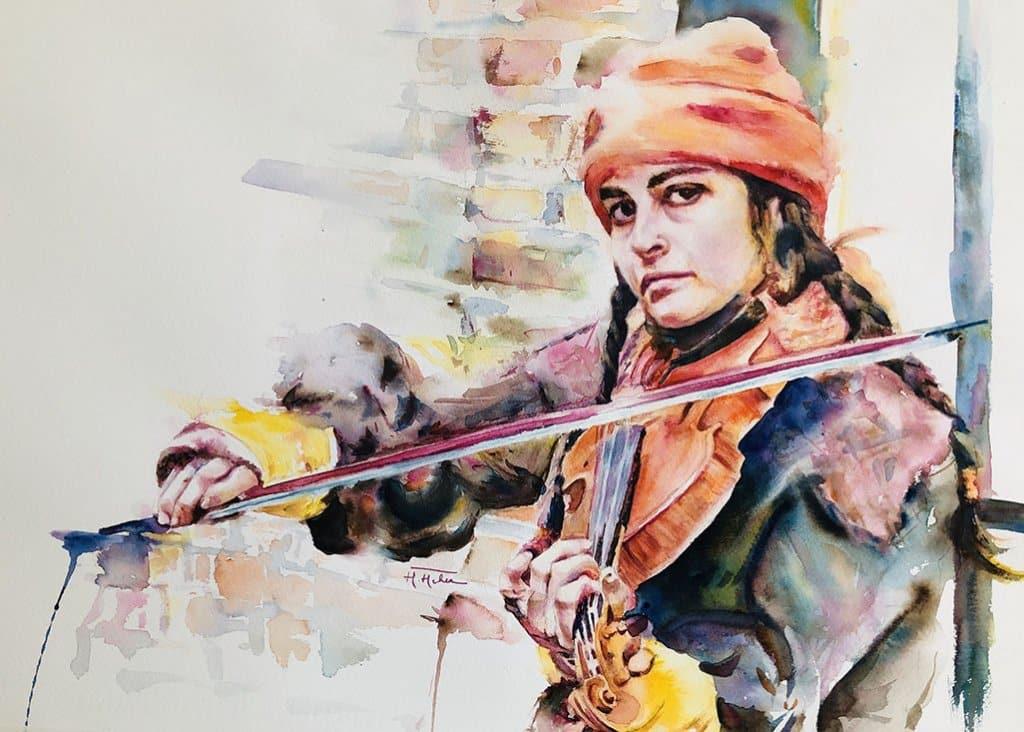 Megha Mehra Watercolor Artist Woman Playing Violin Between a brick and my dreams