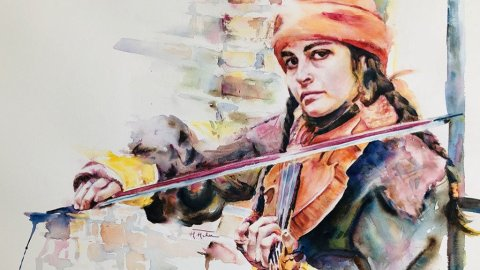 Megha Mehra Watercolor Artist Woman Playing Violin Between a brick and my dreams