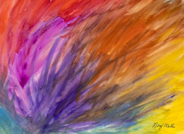 Off To Wingland Abstract Watercolor Painting by Nancy Mills