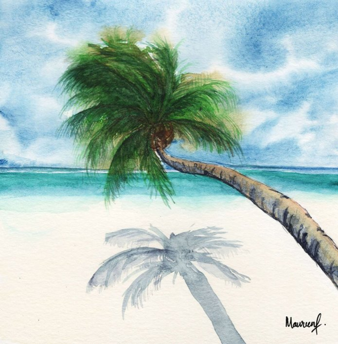Pinang Palm Tree Ocean Watercolor Painting