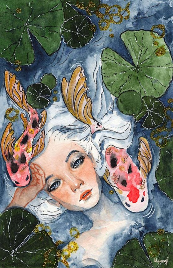 Pisces Woman Watercolor Painting by Maureen Fletcher