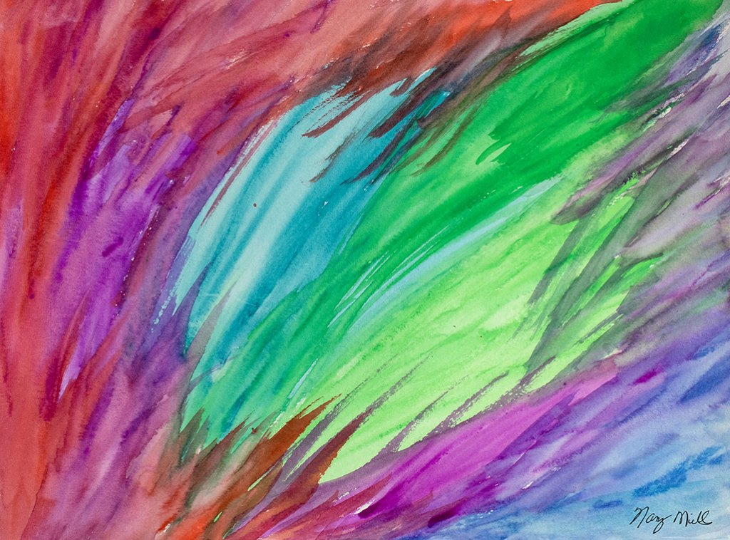 Portal To Your Heart Abstract Watercolor Painting by Nancy Mills