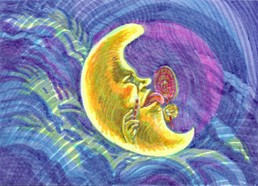 Prompts: Candy, Moon, Spooky. You might think it kooky, Or a little spooky, But if the moon says &#8