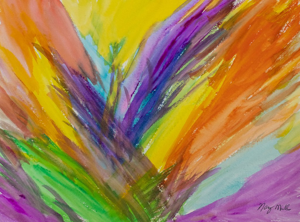 The Wings Of Love Abstract Watercolor Painting by Nancy Mills