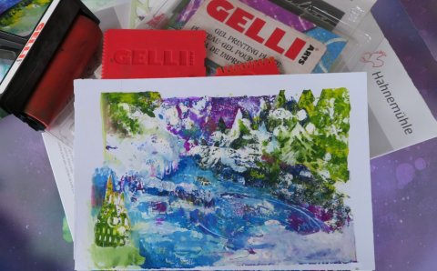 Monoprint Tutorial Painting Gelli Arts Printing Plates and Hahnemühle Paper