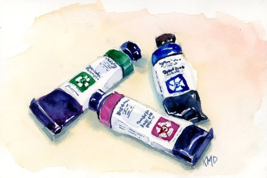 Watercolor Tubes studio painting