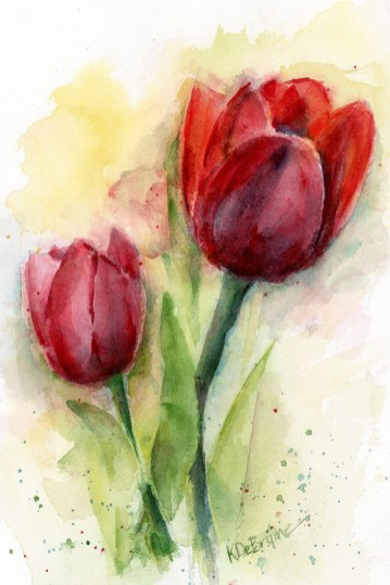 Two Red Tulips studio Watercolor Painting