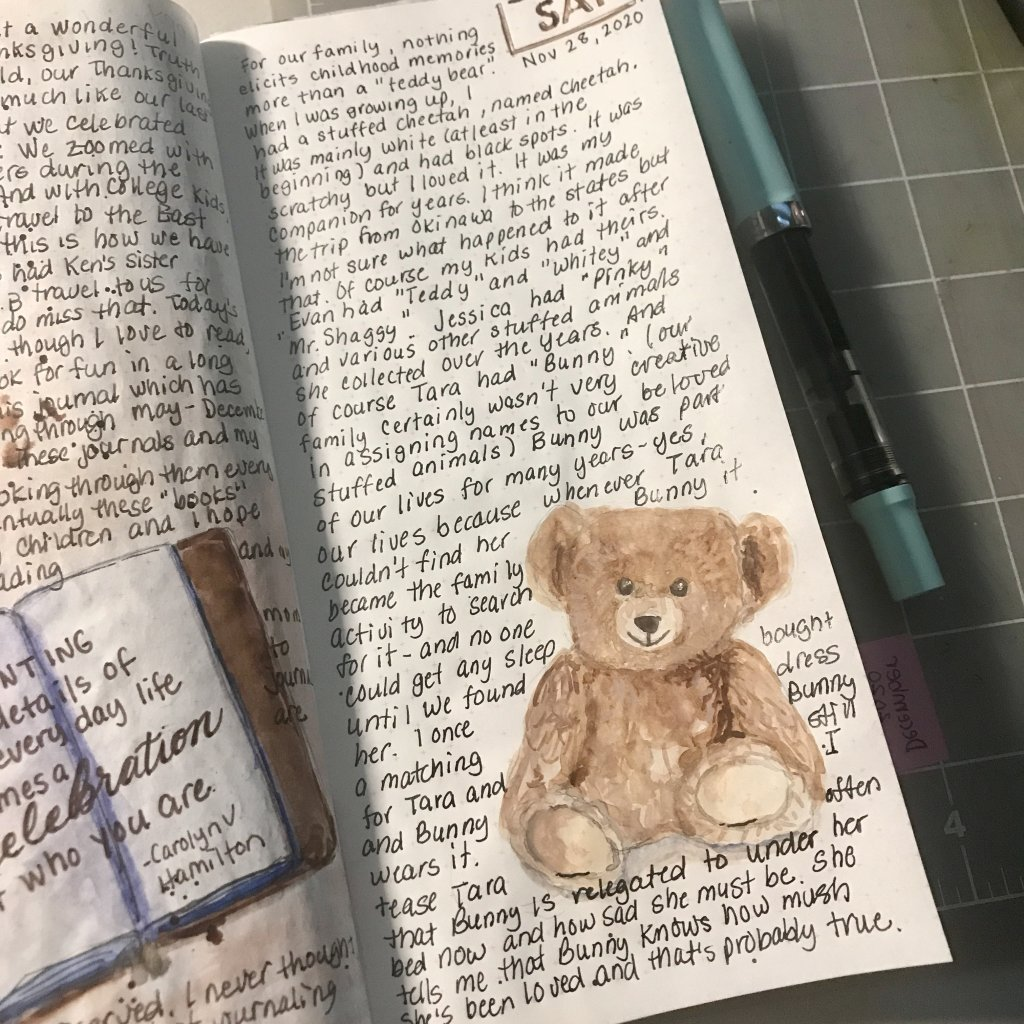 Today I was reminded of all the teddy bears in our lives. We all had them and as loved as they were,
