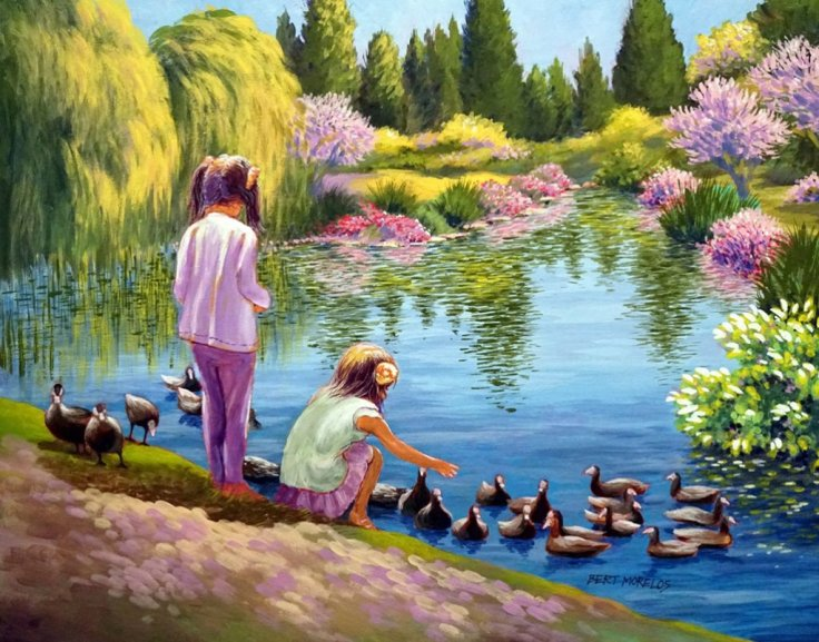 GIRLS BY THE DUCK POND IN ACRYLIC ON CANVAS by Bert Morelos
