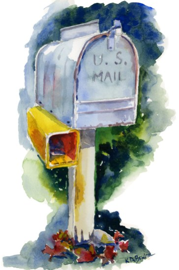 Mailbox studio watercolour painting by Kris DeBruine