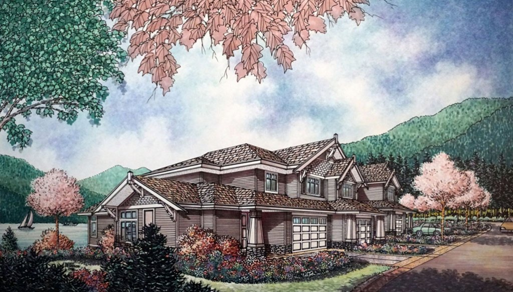WATERFRONT RESIDENTIAL DEVELOPMENT AT FURRY CREEK FROM STREET SIDE Architectural Watercolor Drawing Bert Morelos