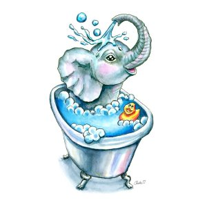 Baby-Elephant-Bath-In-Bathtub-Bathtime-Watercolor-Print-Signed_printfile_default_10x10 watercolor print detail
