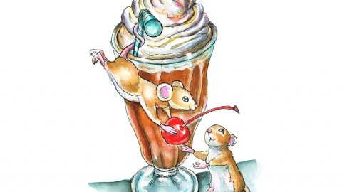 Chocolate Shake Cherry Two Mice Watercolor Illustration Painting