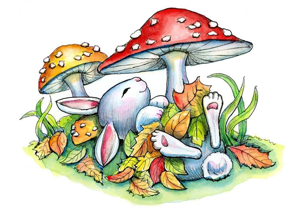 Bunny Rabbit Sleeping Autumn Leaves Mushrooms Watercolor Illustration Painting