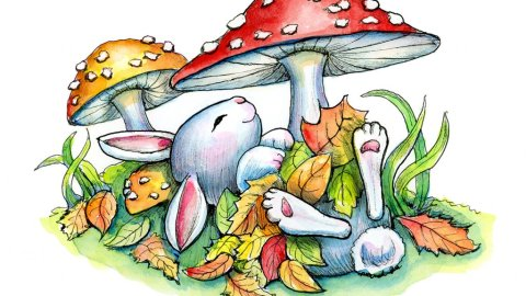 Bunny Rabbit Sleeping Autumn Leaves Mushrooms Watercolor Illustration Painting