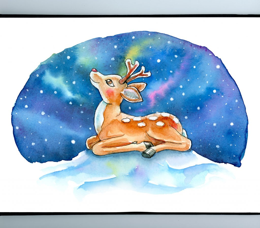 Baby Reindeer Red Nose Northern Lights Watercolor Illustration Painting Sketchbook Detail