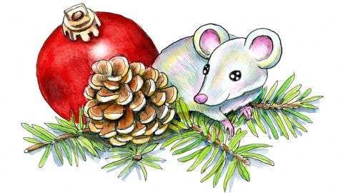 Christmas Mouse Ornament Pine Cone Watercolor Illustration Painting