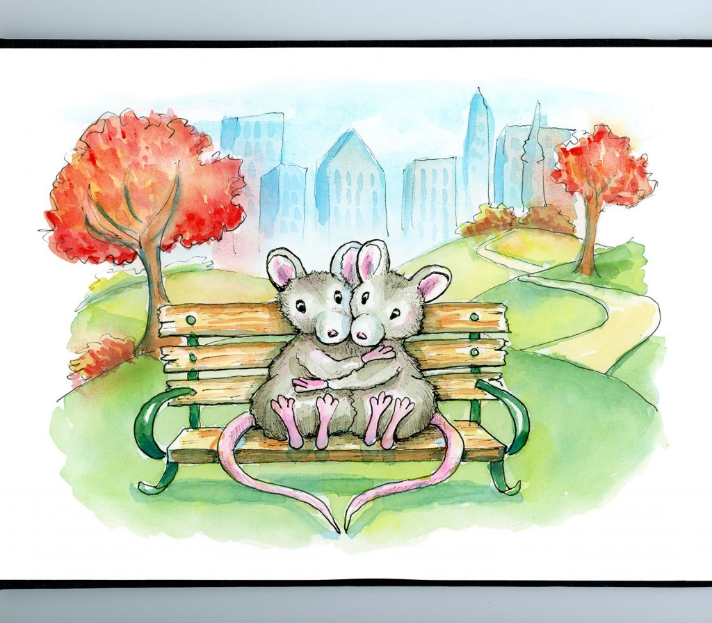 City Park Two Mice Sitting On Bench Cityscape Autumn Watercolor Illustration Painting Sketchbook Detail