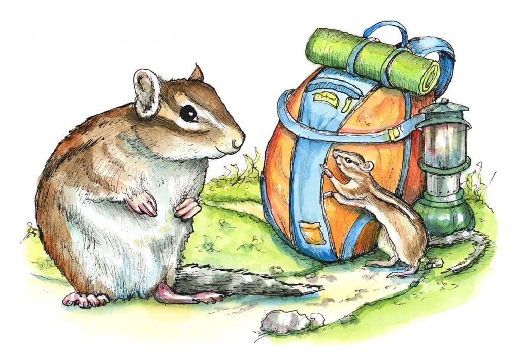 Hiking Trail Backpack Lantern Chimpmunks Watercolor Illustration Painting