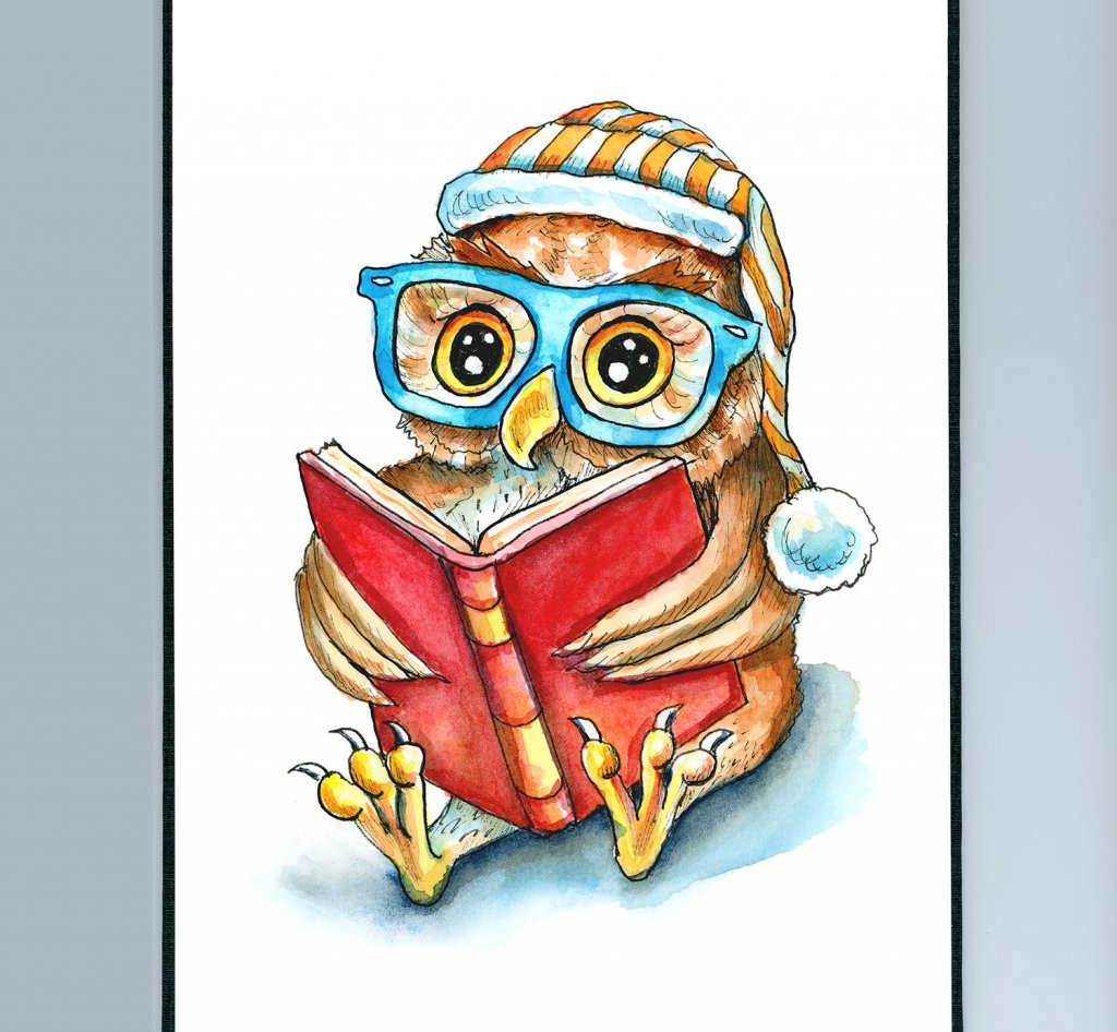 Owl Reading Book In Glasses Night Cap Watercolor Illustration Painting Sketchbook Detail