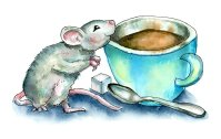 Mouse Smelling Coffee Smell Watercolor Illustration Painting