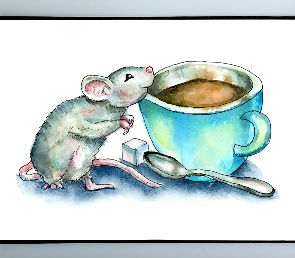 Mouse Smelling Coffee Smell Watercolor Illustration Painting Sketchbook Detail
