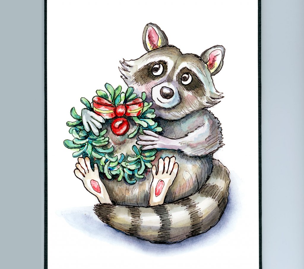 Raccoon Holiday Christmas Wreath Rosemary Watercolor Illustration Painting Sketchbook Detail
