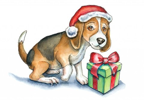 Puppy Dog With Christmas Present Watercolor Illustration Painting