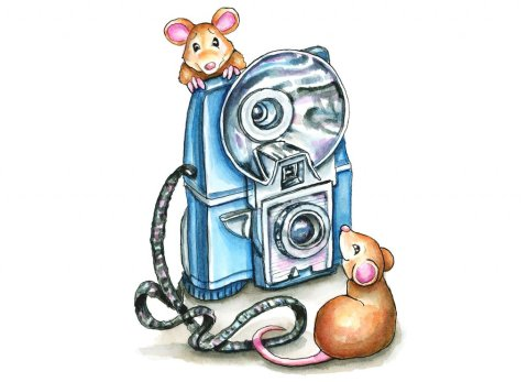 Vintage Camera Two Mice Children's Watercolor Illustration Painting